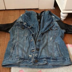 Blank NYC Jackets & Coats - Blank NYC jean jacket with hood & leather sleeves